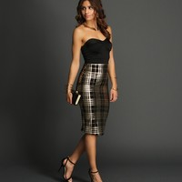 Sale-black Plaid At Night Midi Dress