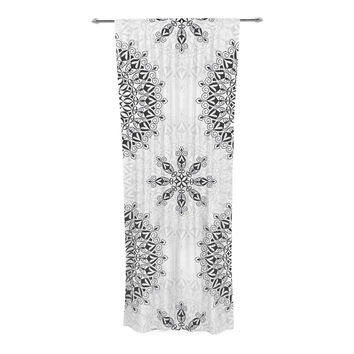 "Julia Grifol ""Black Mandala"" White Black Decorative Sheer Curtain"