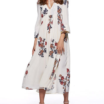 Beige Ethnic High Slit Floral Print Dress