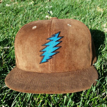 Brown Corduroy / Blue Bolt Snapback Hat