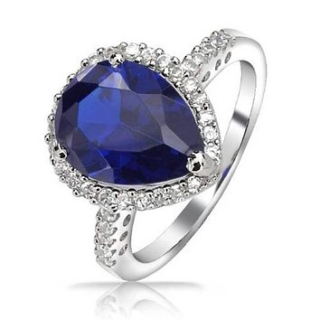 6CT Blue CZ Simulated Sapphire Teardrop Engagement Ring 925 Silver