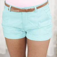 Linen 5 Pocket Belted Shorts Teal
