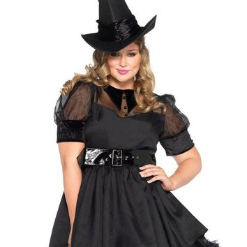 LMFONIS Leg Avenue Women's Plus-Size Bewitching Witch Costume, Black, 1X