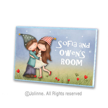 personalized door sign, brother sister sign, kids room art, children art