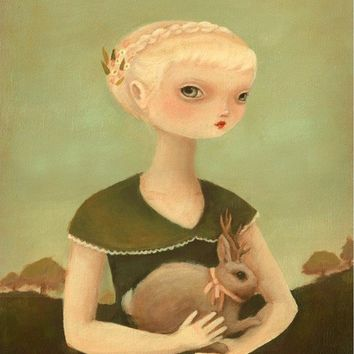 Portrait with Jackalope Print 11x14 by theblackapple on Etsy