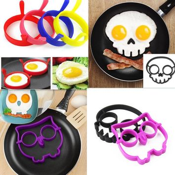 Hot Breakfast Silicone Rabbit Owl Skull Smile Fried Egg Omelette Mold Pancake Ring Shaper Cooking Tools Kitchen Gadgets Kid Gift