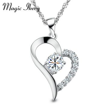 Silver Color Love Heart Shape Pendant Necklaces For Women