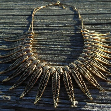 Gold Feather Hmong Miao Tribal Necklace Half Size