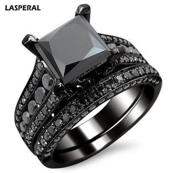 2017 Fashion Black Square Crystal Zircon Ring Set For Women LASPERAL Imitation Gemstone Engagement Rings Party Wedding Jewelry