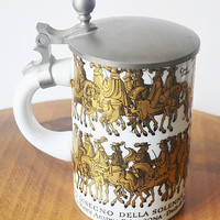 Beer Stein With Italian Depiction, Stein With Pewter Lid, Stein With Depiction of 1671 Engraving