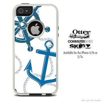 The Navy & White Nautica Skin For The iPhone 4-4s or 5-5s Otterbox Commuter Case
