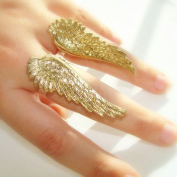 Angel wings ring- pair rings brass and sterling silver adjustable