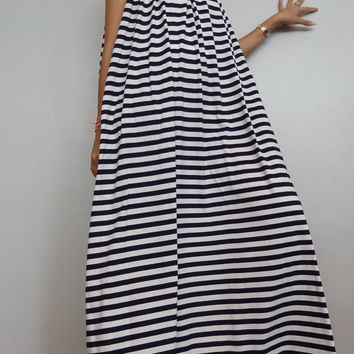 Women Maxi Spaghetti Long Dress ,Casual Gypsy Bohemian Dress , Striped Black White In Cotton Blend (Dress*3).