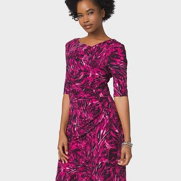 Abstract-Print Ruched Knit Dress | dressbarn