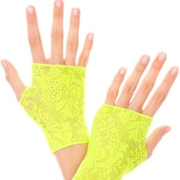 Neon Green Lace Gloves