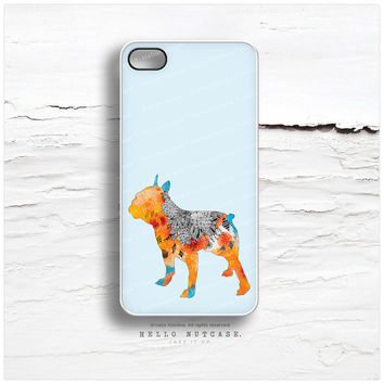 """iPhone 5 Case """"Frenchie"""" by Iveta Abolina, iPhone 5s Case French Bulldog, iPhone 4 Case, Dog iPhone 4s Case, Floral iPhone Case I95"""