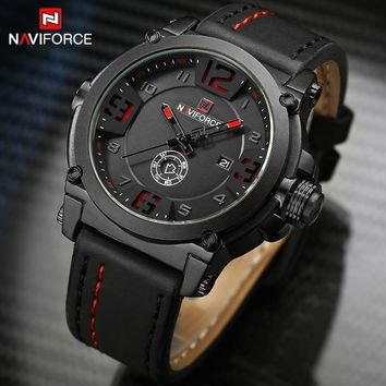 NAVIFORCE Watch: Men's Sports Wrist Watch with Leather Wristband