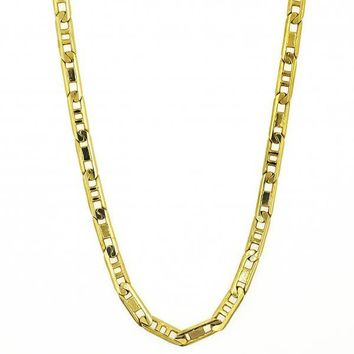 Gold Layered Basic Necklace, Pave Mariner Design, Golden Tone