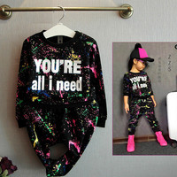 2PCS tops+pants Toddler girl clothing colorful printing girls clothes tracksuit baby girls kids clothes for 2 3 4 5 7 years girl