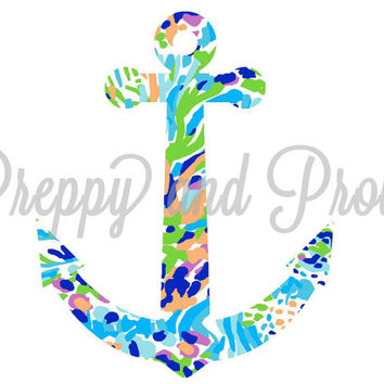 Lilly Pulitzer Inspired Anchor Decal Sticker