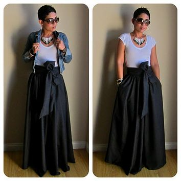 Vintage Black Yellow Solid Cotton Bow Belt A-line Maxi Floor-Length Skirts Womens 2017 Autumn TUTU Long Ball Gown Party Skirt