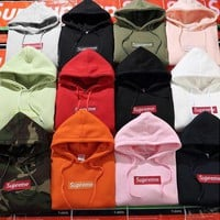 """Supreme"" Couple Casual Letter Print Velvet Long Sleeve hooded Pullover Sweatshirt Top Sweater hoodie"