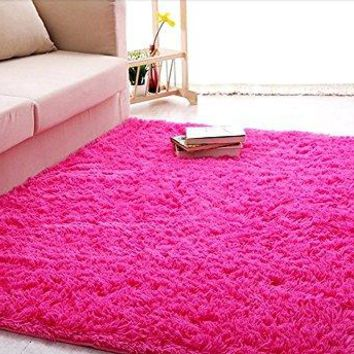 ACTCUT Super Soft Indoor Modern Shag Area Silky Smooth Rugs Living Room Carpet Bedroom Rug for Children Play Solid Home Decorator Floor Rug and Carpet 4- Feet By 5- Feet (Hot Pink)