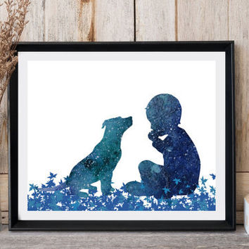 Boy with dog print, Pit bull, Nursery wall decor, Boy silhouette, Dog silhouette, Watercolor, Digital print, Boys gift, Modern minimalist