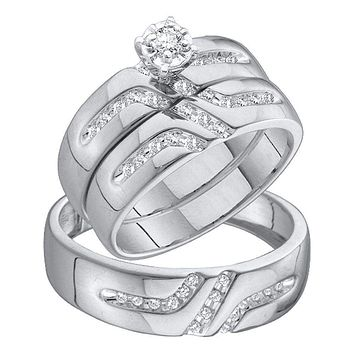 10kt White Gold His & Hers Round Diamond Solitaire Matching Bridal Wedding Ring Band Set 1/4 Cttw - FREE Shipping (US/CAN)