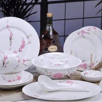 Dinnerware set 56 head  fashion bone china dishes ceramics wedding gifts lilac