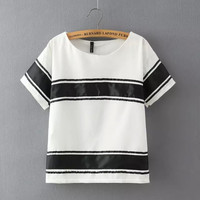 Black And White Stripe Short-Sleeve Blouse