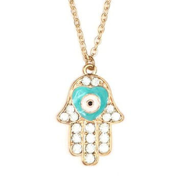 Blue Pave Crystal Hamsa Necklace Hand of Miriam NA42 Heart Evil Eye Judaica Amulet