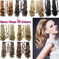 """22"""" 55cm Synthetic Long Wavy Clip In On Invisible Ribbon Ponytail Hair Extension Hairpiece my little pony Tail Clip In Ponytail"""