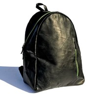 jungla 🌴 black leather laptop backpack with green zippers   signature bati collection