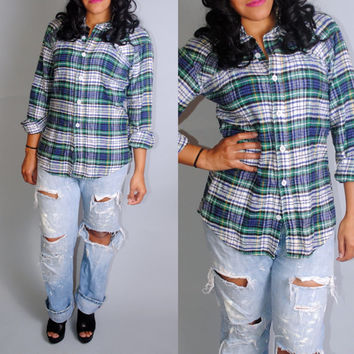 Vintage 1970s blue white green cinched back GRUNGE plaid oversize long sleeve button down  paper thin flannel shirt blouse