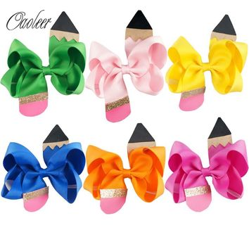 """6pcs Handmade 4.5"""" Pencil Back to School Hair Bow With Clip For Girls Boutique Pencil Hairpin Preschool Graduation Accessories"""