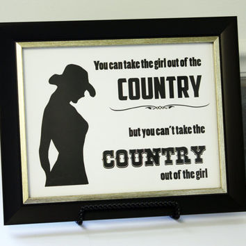 8.5x11 Inspirational Art - Country Girl Silhouette Print - Ready to Frame