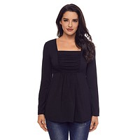 Black Square Neckline Ruched Long Sleeve Blouse