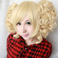 35cm short synthetic heat resistant curly Light golden lolita wig ponytails,Colorful Candy Colored synthetic Hair Extension Hair piece 1pcs WIG-301B