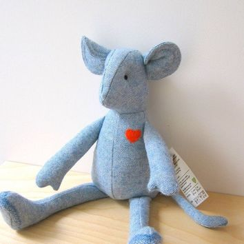 SALE Mouse doll  upcycled wool baby blue vintage unique by bubyNoa