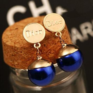 Dior Fashion Women Blue Pearl Earring Stud Earrings