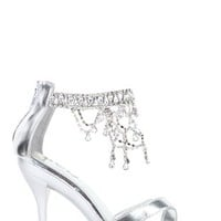 Open Toe High Heel with Small Platform and Waterfall Stones