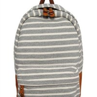 J. Carrot Gray & White Striped Fleece Backpack Bag