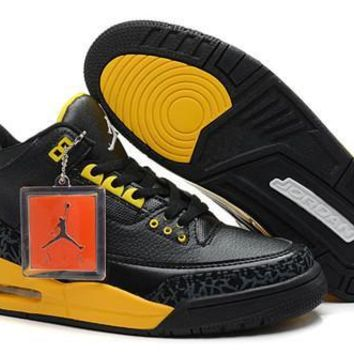 Cheap Air Jordan 3 Retro Men Shoes Black Yellow White