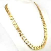 Chunky 23in 10mm Real 24k Yellow Gold Filled Men's Necklace Solid Curb Chain Fashion Jewelry 72g