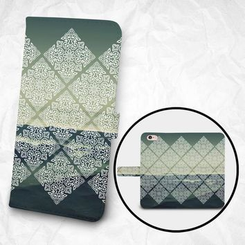 Apple iPhone 7 case Apple iPhone 7 Plus case Samsung Galaxy S6 case PU leather flip cover Book Phone case Wallet case - Square Floral Sea