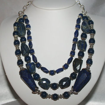 Big Bold Chunky Cobalt Blue Lapis Lazuli Rough Faceted Huge Stone Triple Strand Tibetan Silver  Unique Statement Necklace