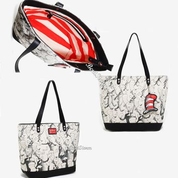 Licensed cool Loungefly Dr. Seuss Cat In The Hat Canvas Tote Purse Handbag Super Size Licensed