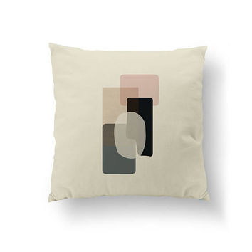 Pink Black Gray, Beige Pillow, Abstract Shapes, Cushion Cover, Minimal Design, Subdued Colors, Decorative Pillow, Throw Pillow, Home Decor