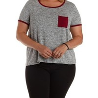 Plus Size Lt Gray Combo Ringer Pocket Tee by Charlotte Russe